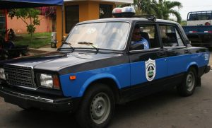 Lada driving cops with shades