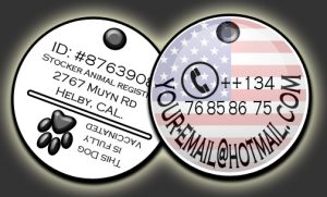 Front and back of a Pet ID sample tag